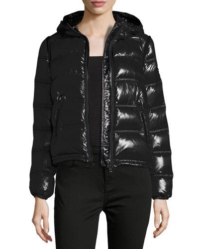 Mapleford 2-in-1 Glossy Puffer Jacket w/ Zip-Off Sleeves, Black