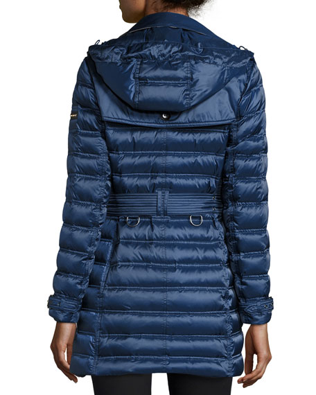 Chesterford Double-Breasted Midi Quilted Coat, Bright Navy