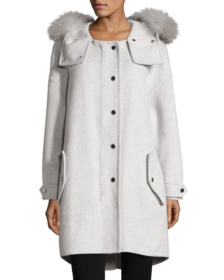 Burberry Meldonbridge Wool Coat with Fur-Trim Hood