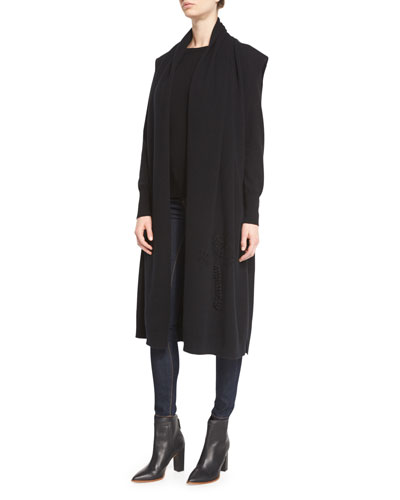 Embroidered Long Cashmere Cape, Navy