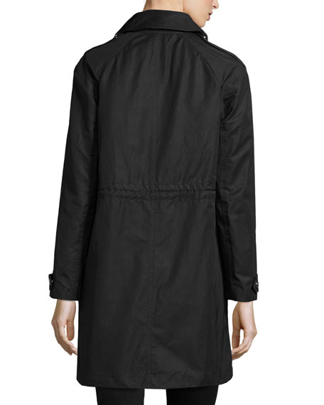 Harlington Zip-Front Hooded Parka Jacket, Black