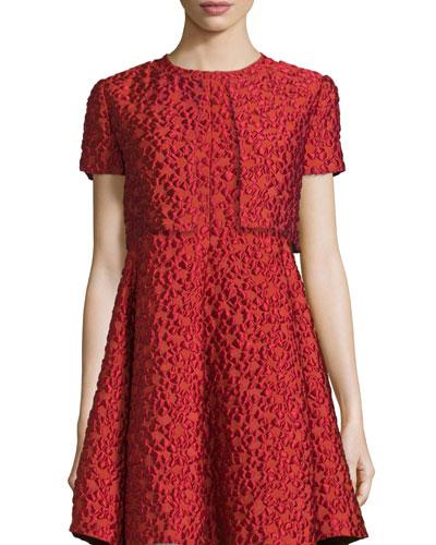 Jacquard Short-Sleeve Bolero, Matisse Red