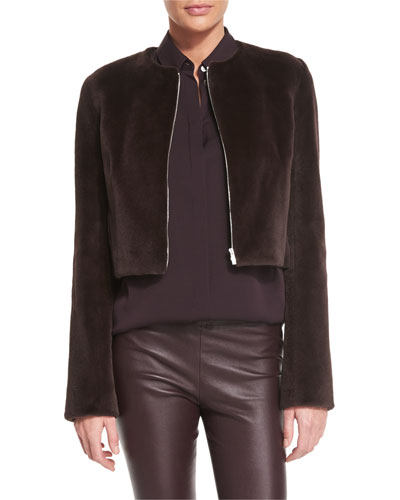 Retza Mink-Fur Cropped Jacket, Dusty Violet