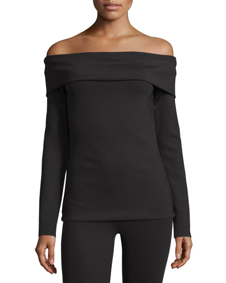 THE ROW Lupino Off-the-Shoulder Top, Black