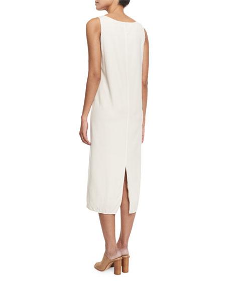 Nelly Raw-Edge Sleeveless Midi Dress, Ivory