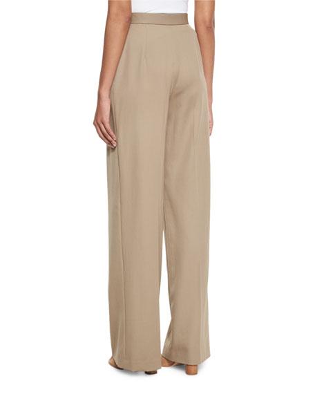 Mailan High-Waist Wide-Leg Trousers, Khaki