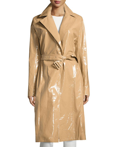 Kelma Belted Leather Trenchcoat, Almond Butter