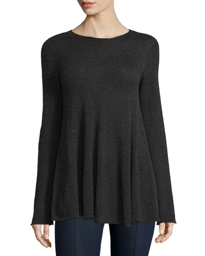 Ebelda Long-Sleeve Trapeze Sweater, Charcoal Melange