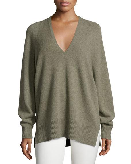 THE ROW Jabbie V-Neck Tunic Sweater, Dark Pear
