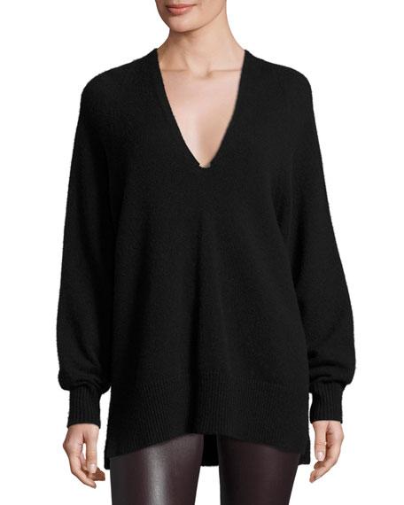 THE ROW Jabbie V-Neck Long-Sleeve Sweater, Black