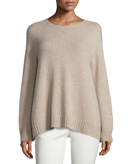 Niola Long-Sleeve Trapeze Tunic Sweater, Light Taupe Melange