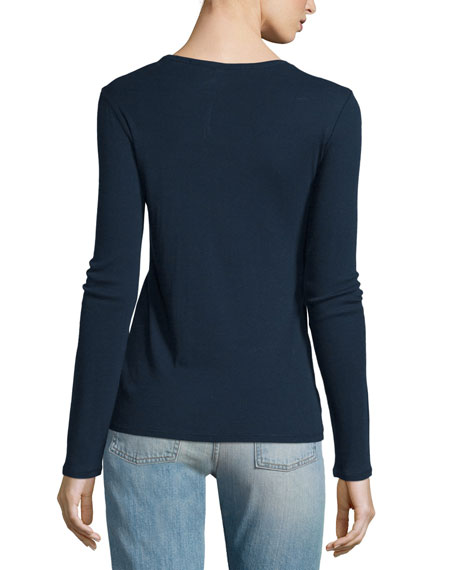 Cicely Ribbed Long-Sleeve Tee, Dark Navy