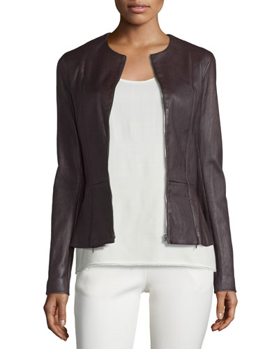Anasta Washed Leather Zip-Front Jacket, Port