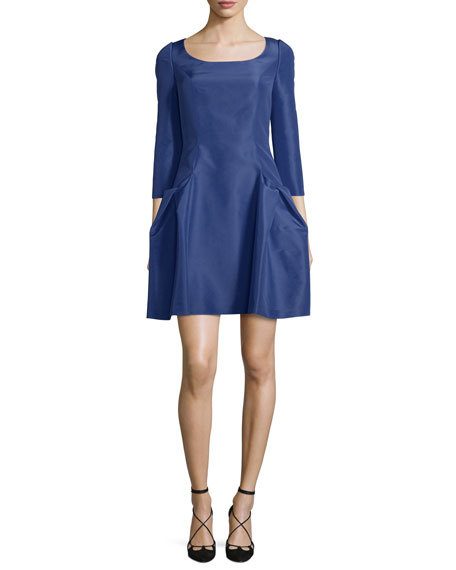 Carolina Herrera 3/4-Sleeve Scoop-Neck Cocktail Dress, Cobalt