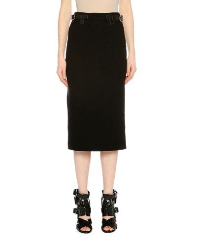 Belted Pencil Midi Skirt, Black