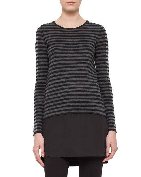 Striped Knit Long-Sleeve Tunic, Black/Cliff/Grave
