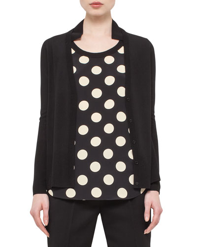 Polka-Dot Silk-Back Cardigan, Black