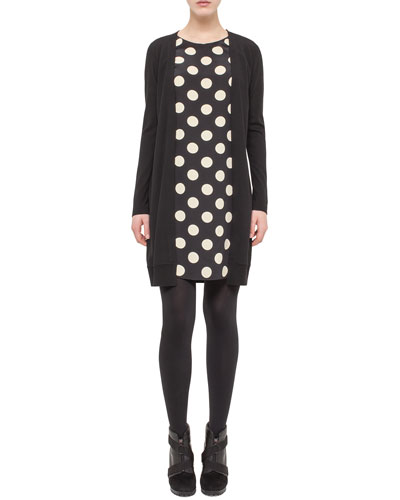 Polka-Dot Faux-Cardigan Dress, Black