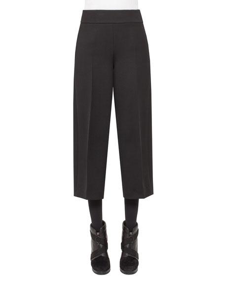 Akris punto Corrine High-Waist Culottes, Black
