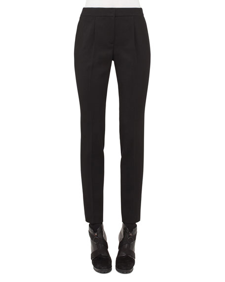 Akris punto Pleated-Front Tapered Pants, Black
