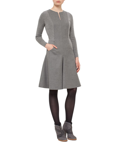 Long-Sleeve Fit-&-Flare Knit Dress, Cliff