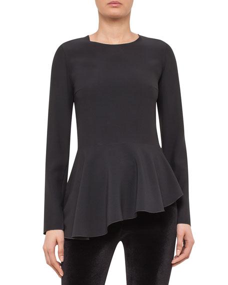 Asymmetric Peplum Long-Sleeve Blouse, Black