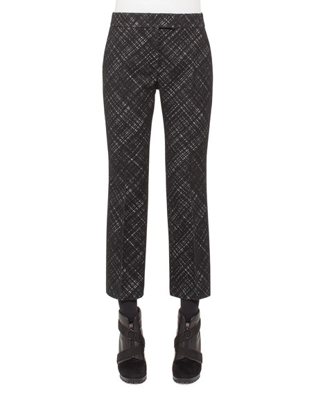 Akris punto Madia Jacquard Flared Cropped Pants, Black