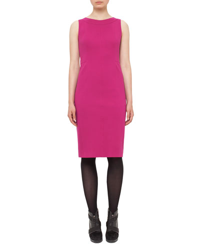 Fitted Stretch-Jersey Sleeveless Dress, Pink