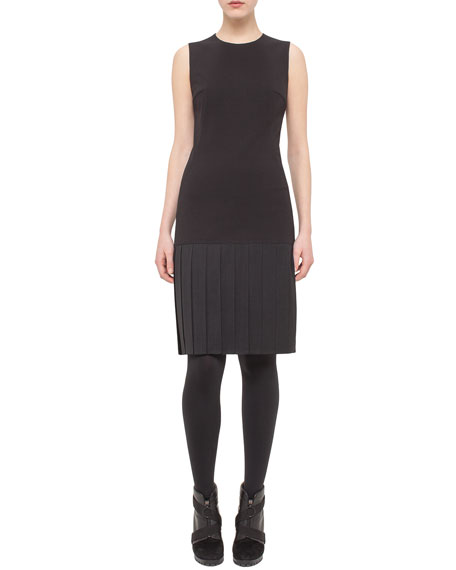 Pleated-Skirt Cutout-Back Sleeveless Dress, Black