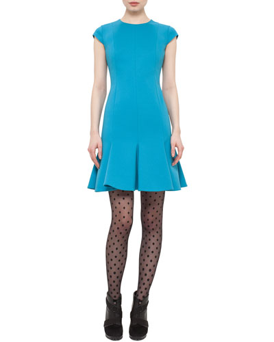 Cap-Sleeve Flounce-Hem Dress, Turquoise