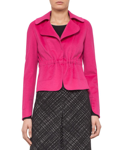 Drawstring-Waist Open Jacket, Pink