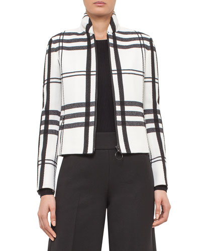 Jumbo-Check Ruched-Collar Jacket, Black/Cream