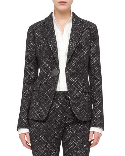 Crosshatch Jacquard One-Button Jacket, Black