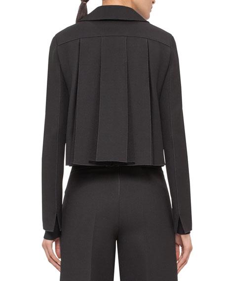 Pleated-Black Cropped Jacket, Black