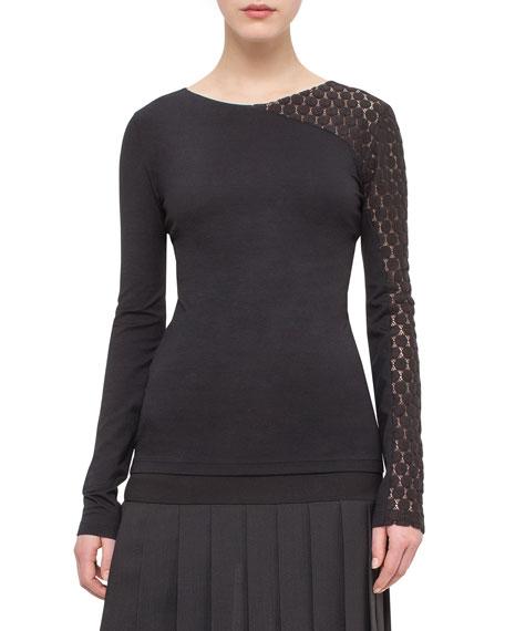 Asymmetric Dot-Lace Long-Sleeve Tee, Black