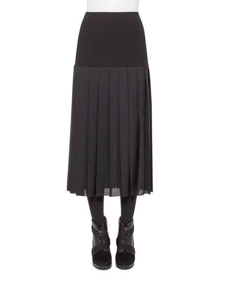 Akris punto Pleated A-Line Midi Skirt, Black