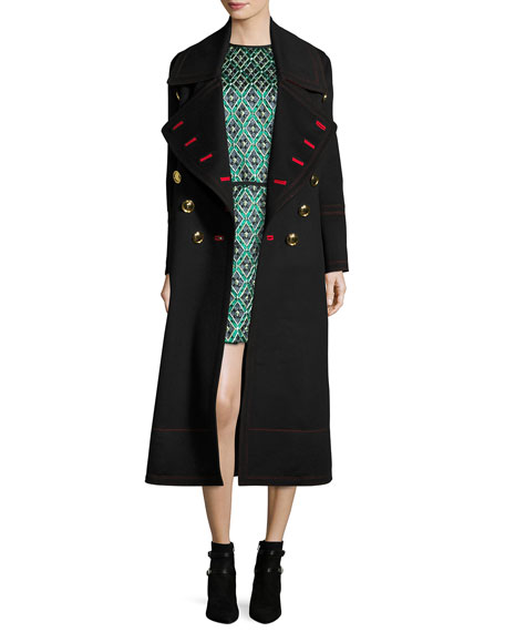 Patchwork Check Jacquard Dress, Deep Green