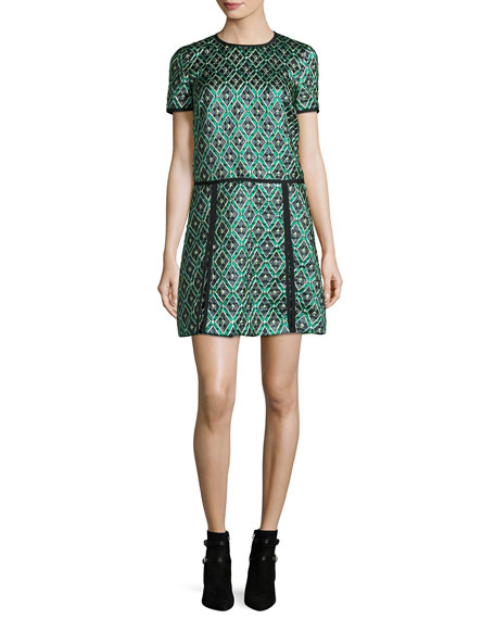 Burberry Brit Patchwork Check Jacquard Dress, Deep Green
