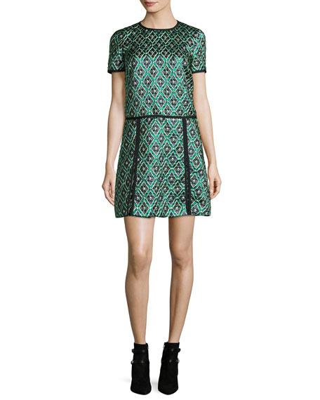 Burberry Brit Patchwork Check Jacquard Dress, Deep Green