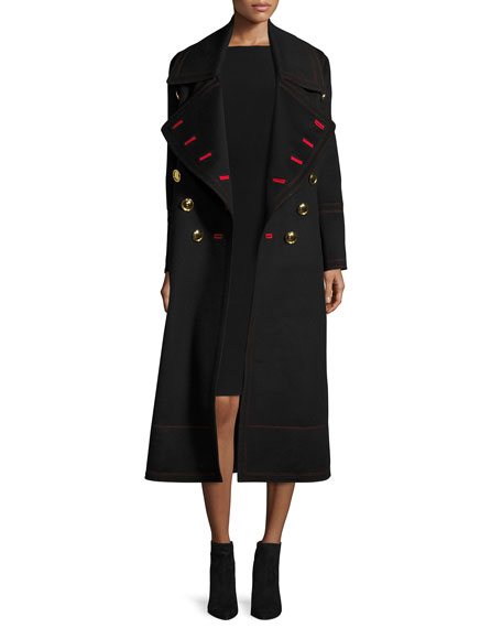 Burberry Wool-Cashmere Military Coat, Black