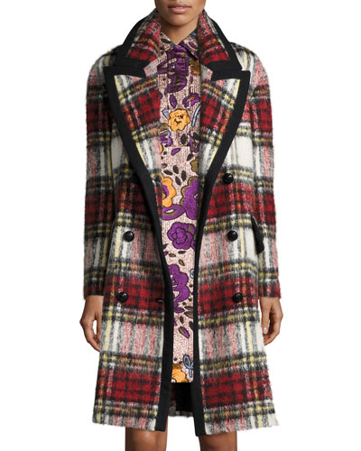 Plaid Wool/Mohair-Blend Coat, Elderberry