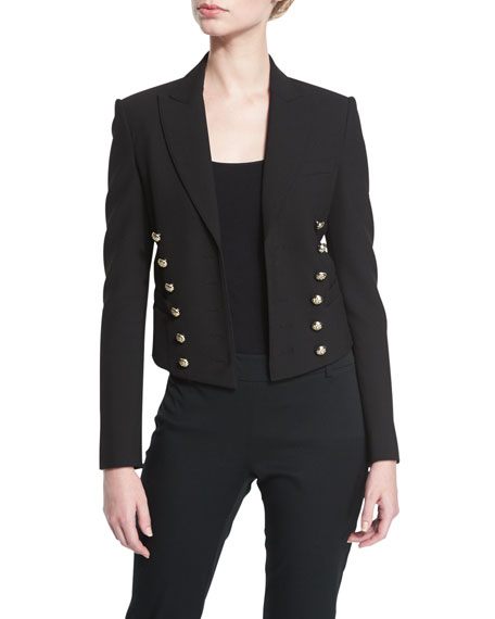 Cropped Military Jacket, Black