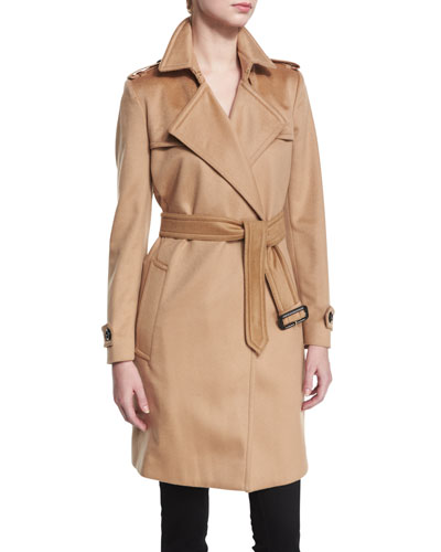 Cashmere Belted Wrap Trenchcoat, Camel