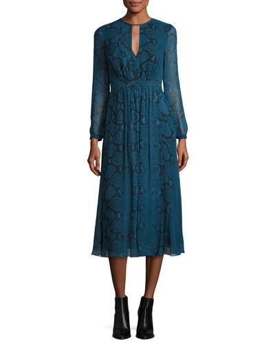 Python-Print Silk Midi Dress