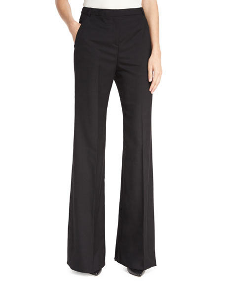 Wide-Leg Wool Trousers, Black