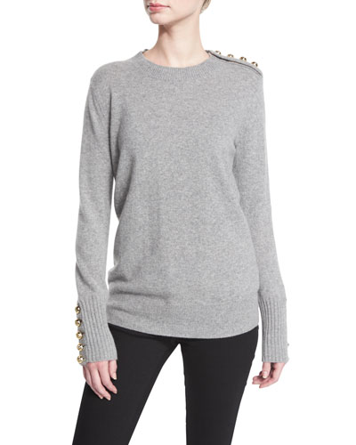 Button-Trim Crewneck Sweater, Dark Gray Melange