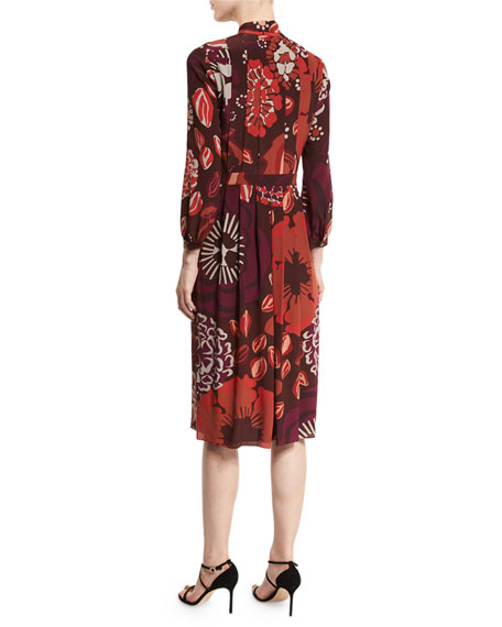 Floral-Print Tie-Neck Silk Dress