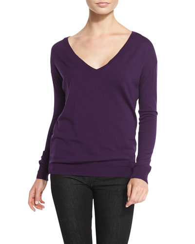 Easy Merino V-Neck Sweater, Plum