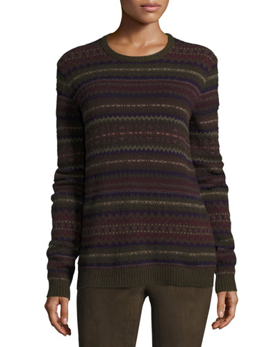 Loden Fair Isle Crewneck Cashmere Sweater