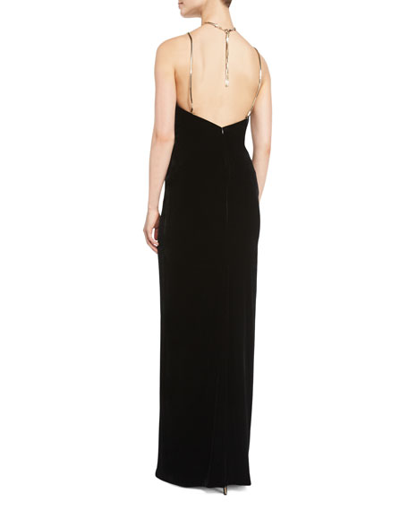 Winsor Velvet Column Gown w/Metallic Hardware, Black